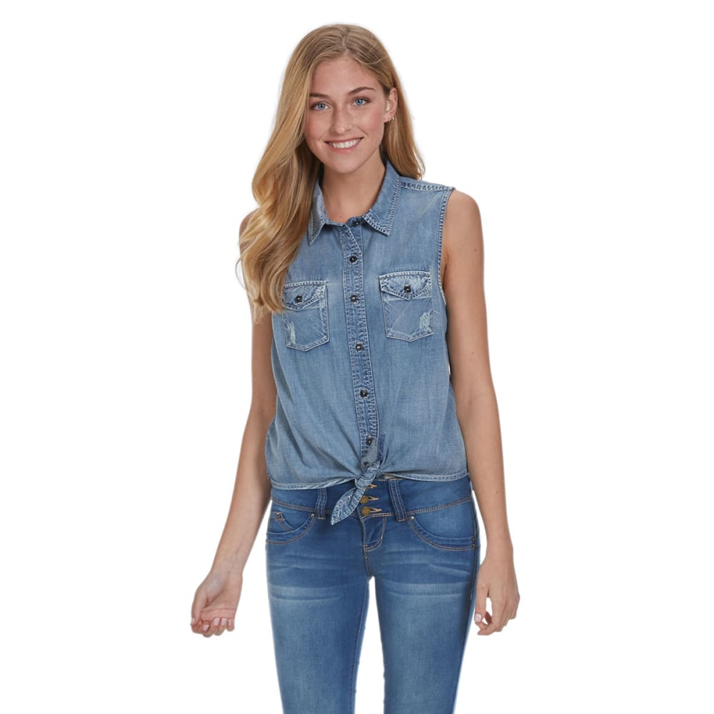 VANILLA STAR Juniors' Chambray Tie Front Shirt - CHAMBRAY