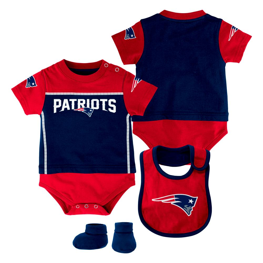 NEW ENGLAND PATRIOTS Infant Boys' Bib, Booty, and Creeper Set - NAVY