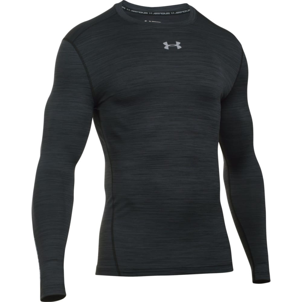 UNDER ARMOUR Men's ColdGear Armour Twist Compression Crew Shirt - BLACK/STEEL-001