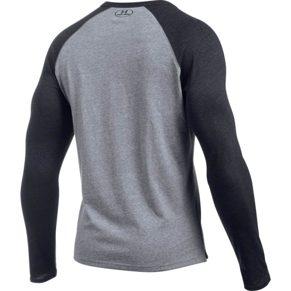 UNDER ARMOUR Men's Tri-Blend Colorblock Long Sleeve Henley - GREYHOUND HTHR-082