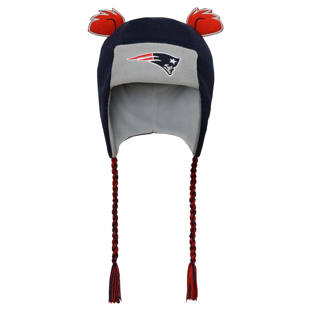 NEW ENGLAND PATRIOTS Kids' Ears Trooper Knit Trapper Hat - NAVY/GREY