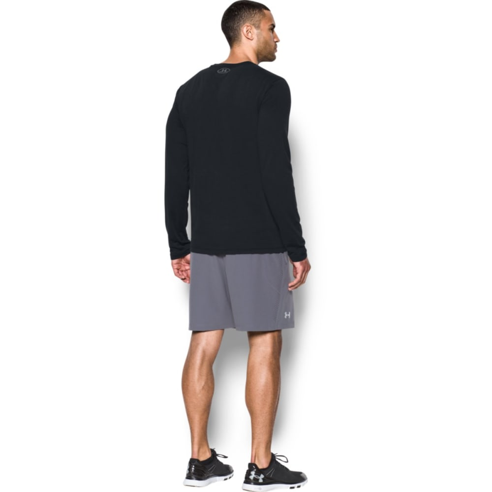 UNDER ARMOUR Men's Charged Cotton Long-Sleeve Tee - BLACK/STEEL-001