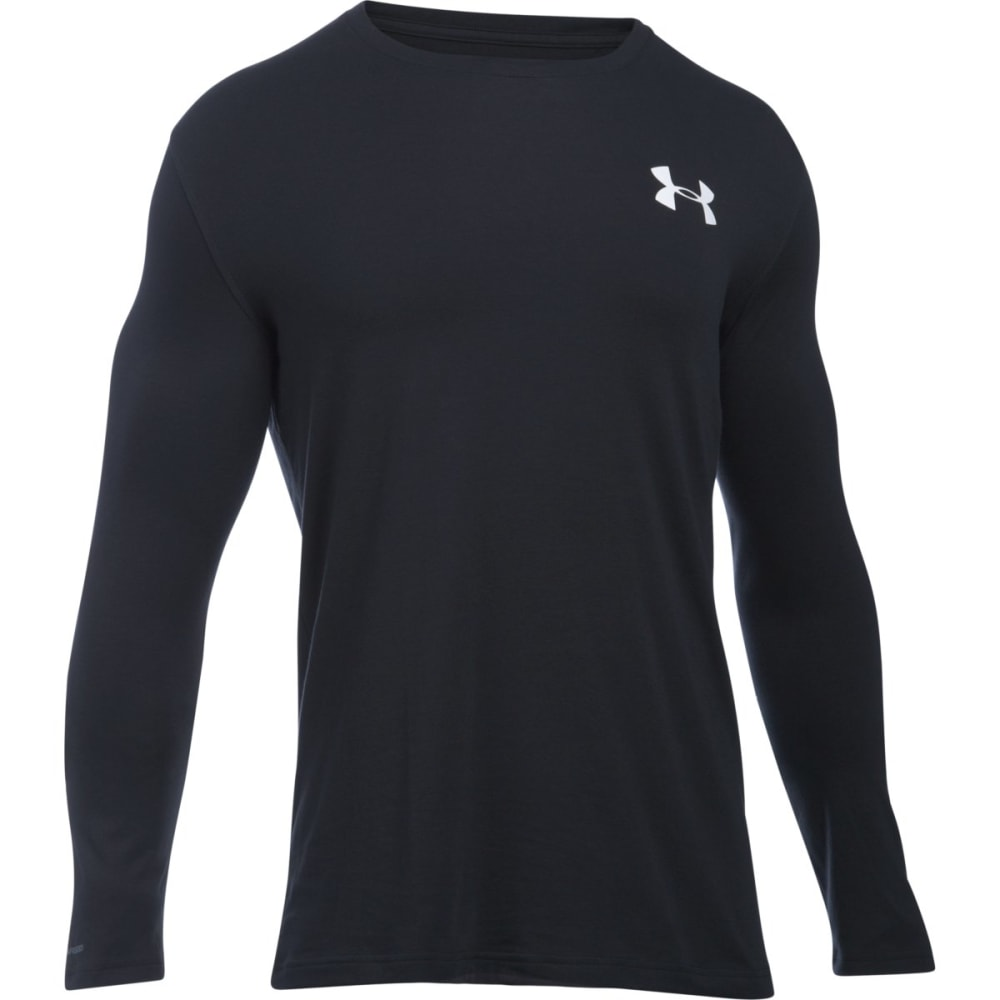 UNDER ARMOUR Men's Vertical Wordmark Long-Sleeve Tee - BLACK/WHITE-001