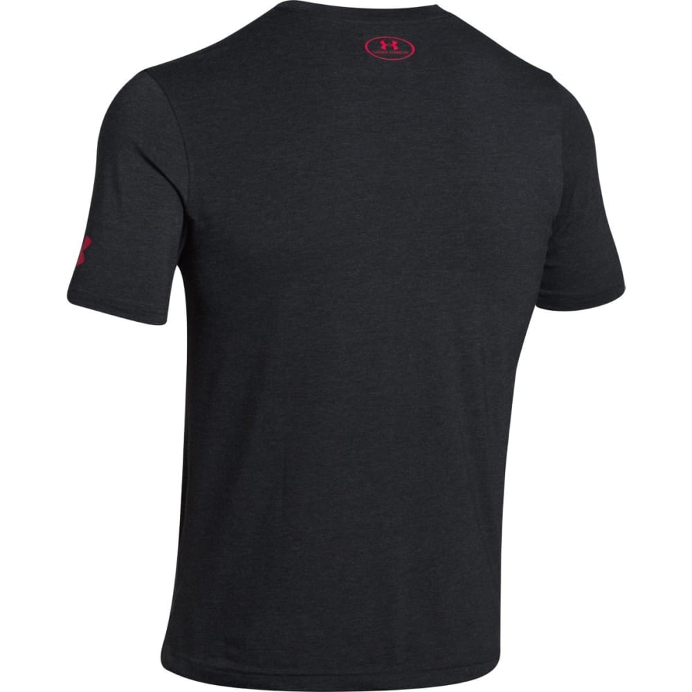 UNDER ARMOUR Men's Wordmark Stack Tee - BLACK/WHITE-001