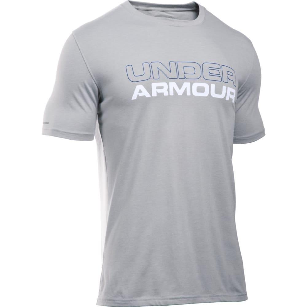 UNDER ARMOUR Men's Wordmark Stack Tee - TRUE GRAY HTHR-026