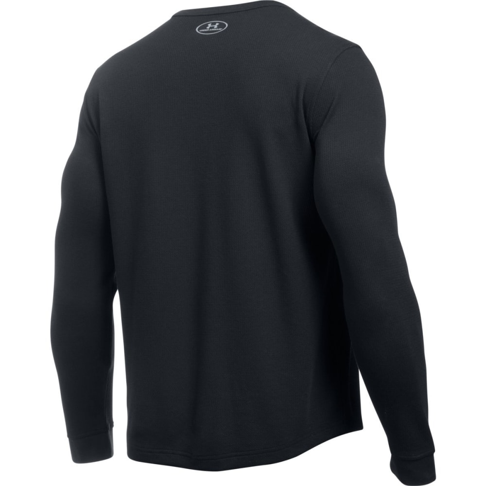 UNDER ARMOUR Men's Waffle Crewneck Shirt - BLACK/STEEL-001