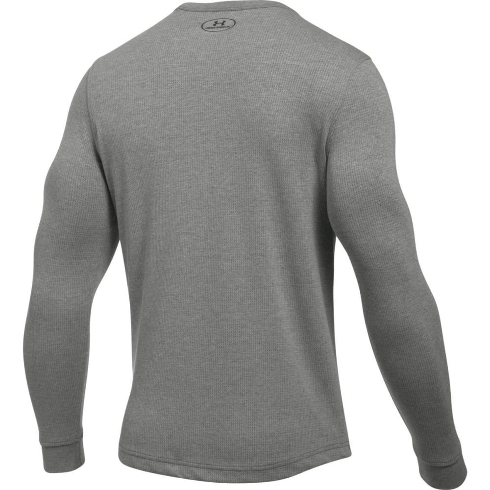 UNDER ARMOUR Men's Waffle Crewneck Shirt - BLK MED HTR/NLK-002