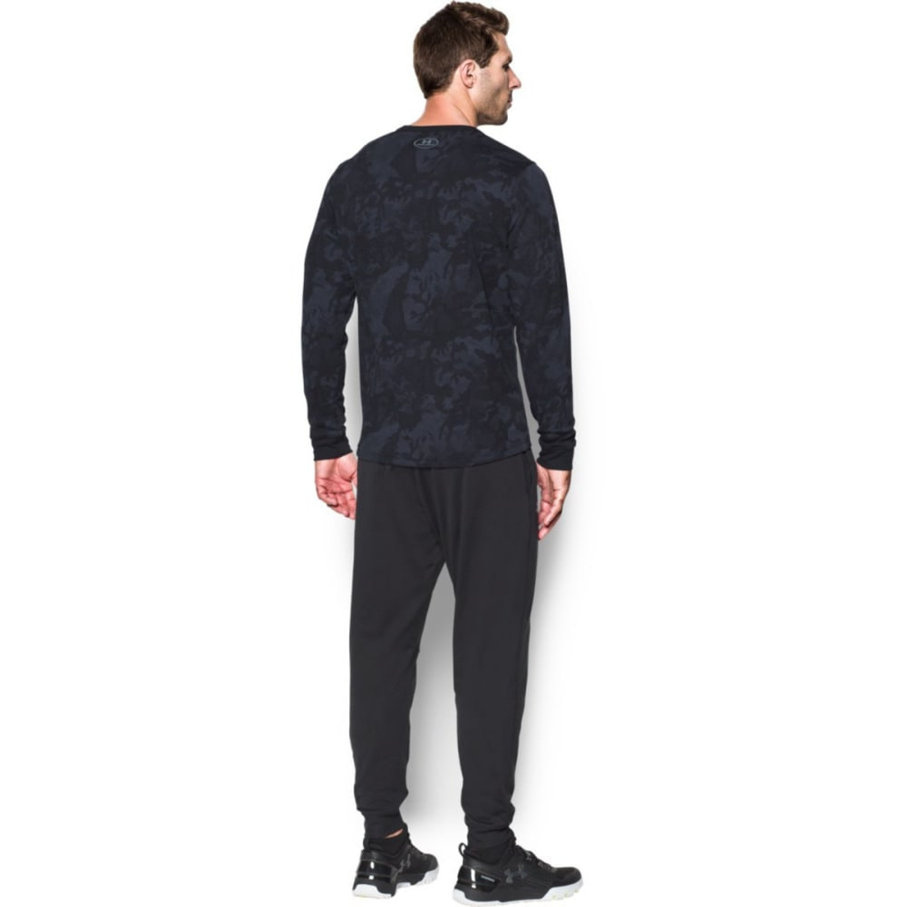 UNDER ARMOUR Men's Waffle Printed Crewneck Long-Sleeve Tee - BLACK-001