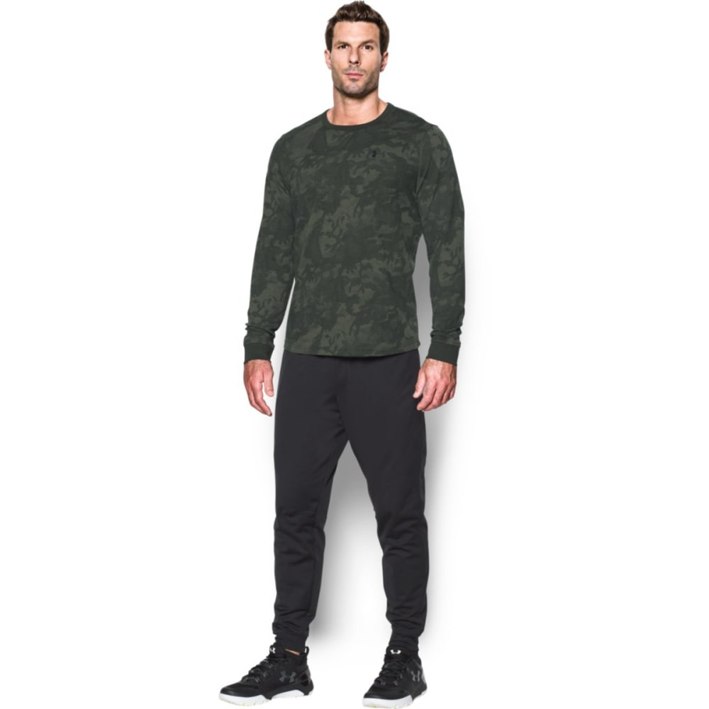 UNDER ARMOUR Men's Waffle Printed Crewneck Long-Sleeve Tee - ARTILLERY GREEN-357