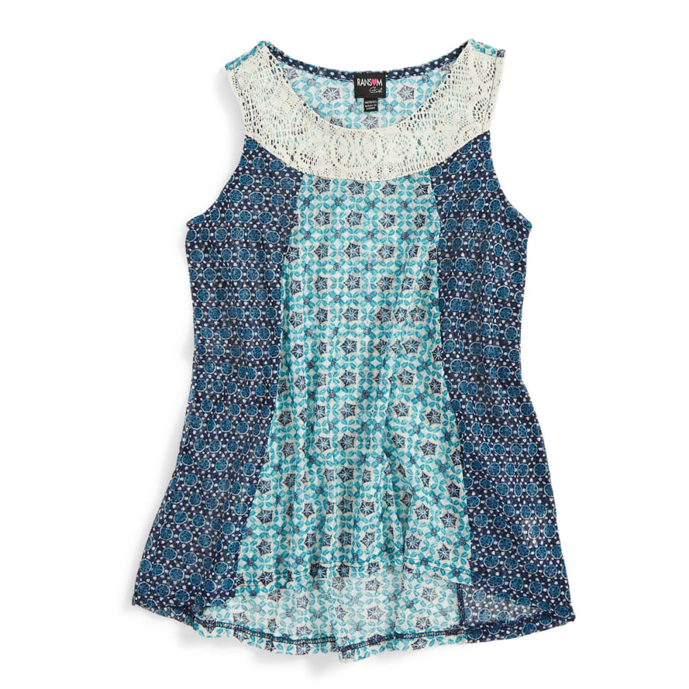 RANSOM Girls' Printed Lace Tank W/ Crochet Yoke - NAVY