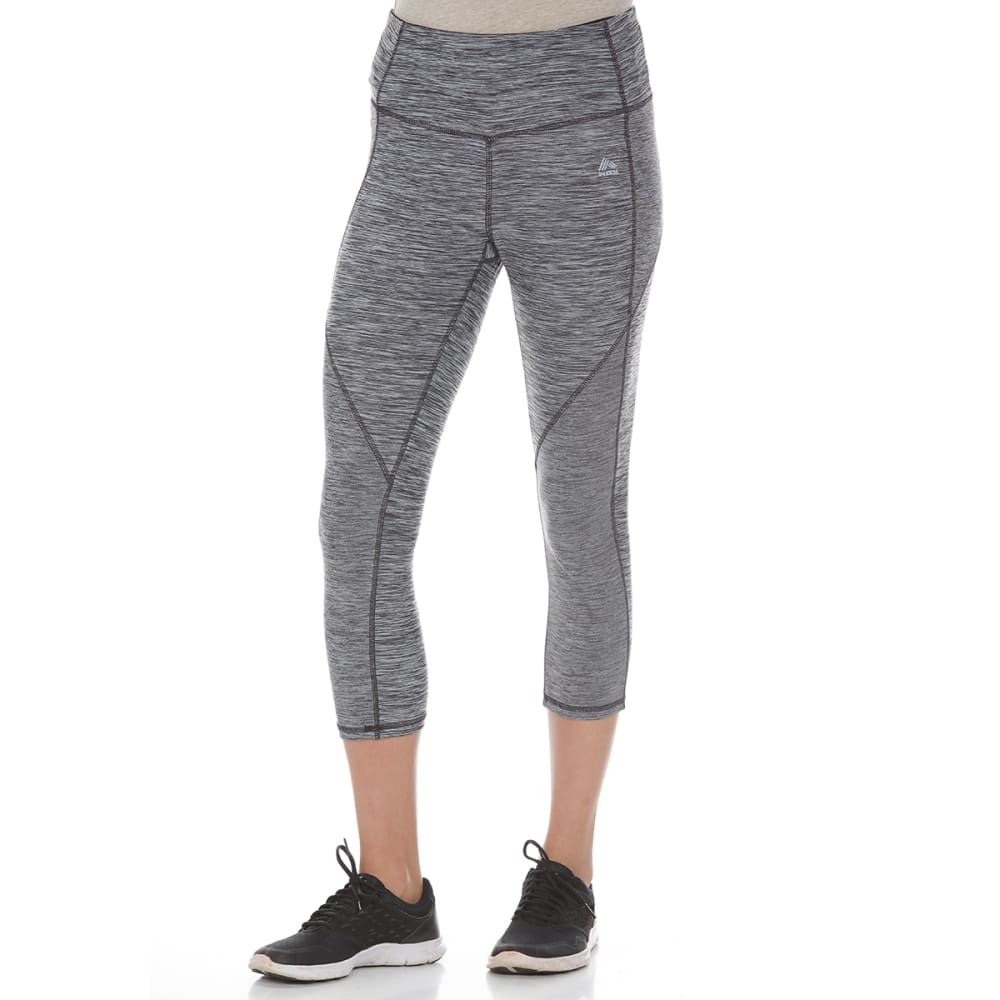 RBX Women's Striated Spliced Yoga Capris - BLACK STRAITED-I