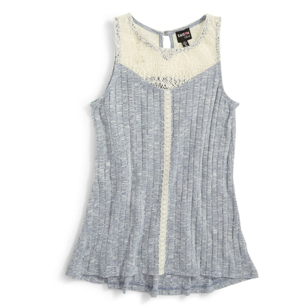 RANSOM GIRL Girls' Knit Rib Tank W/ Lace - ADVENTURE BLUE