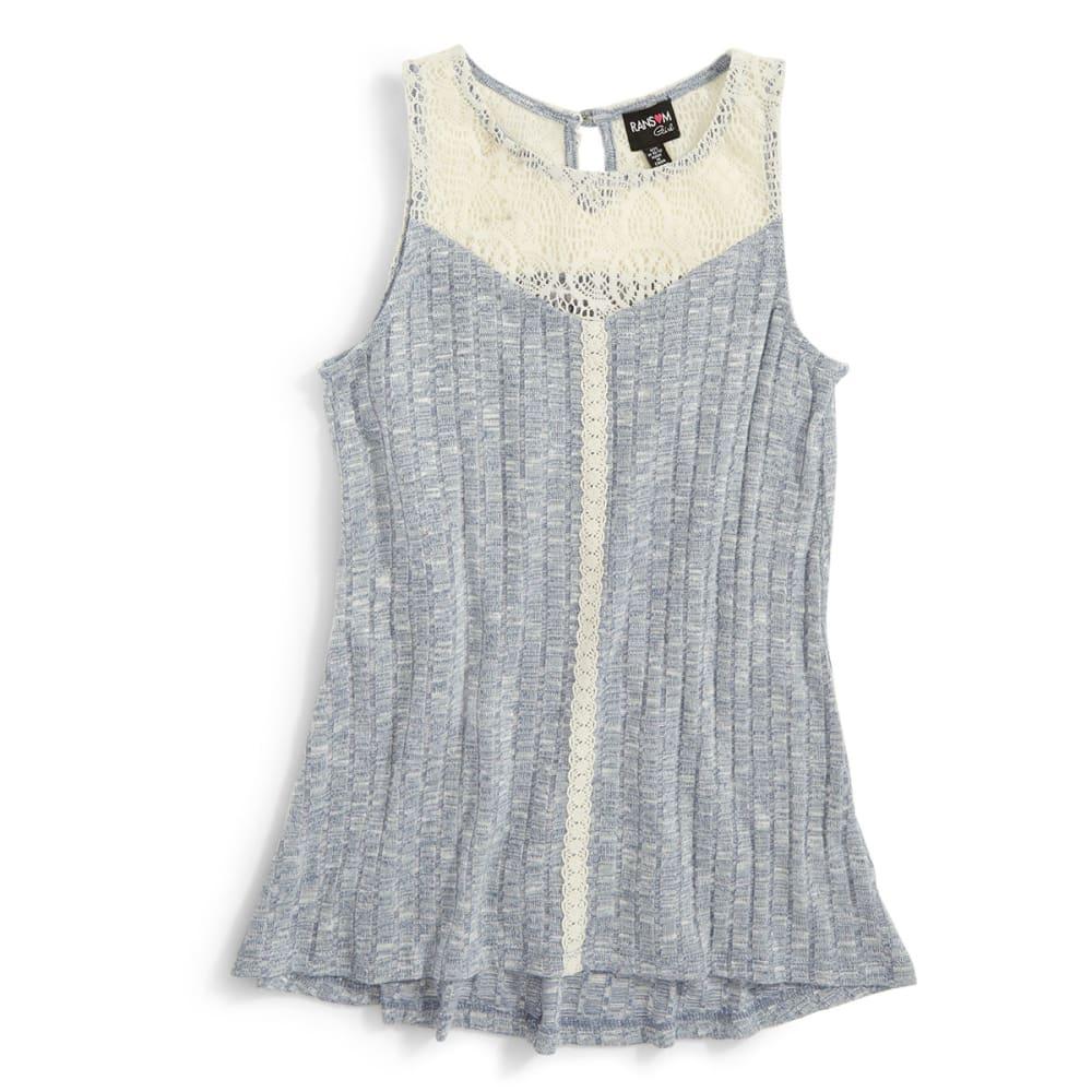 RANSOM GIRL Girls' Knit Rib Tank W/ Lace - ADVENTURE BLUE