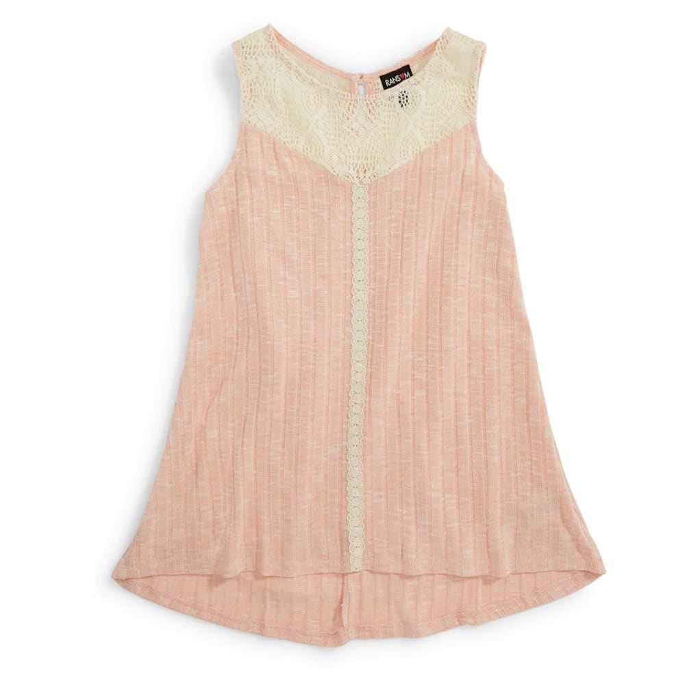RANSOM GIRL Girls' Knit Rib Tank W/ Lace - BLUSH