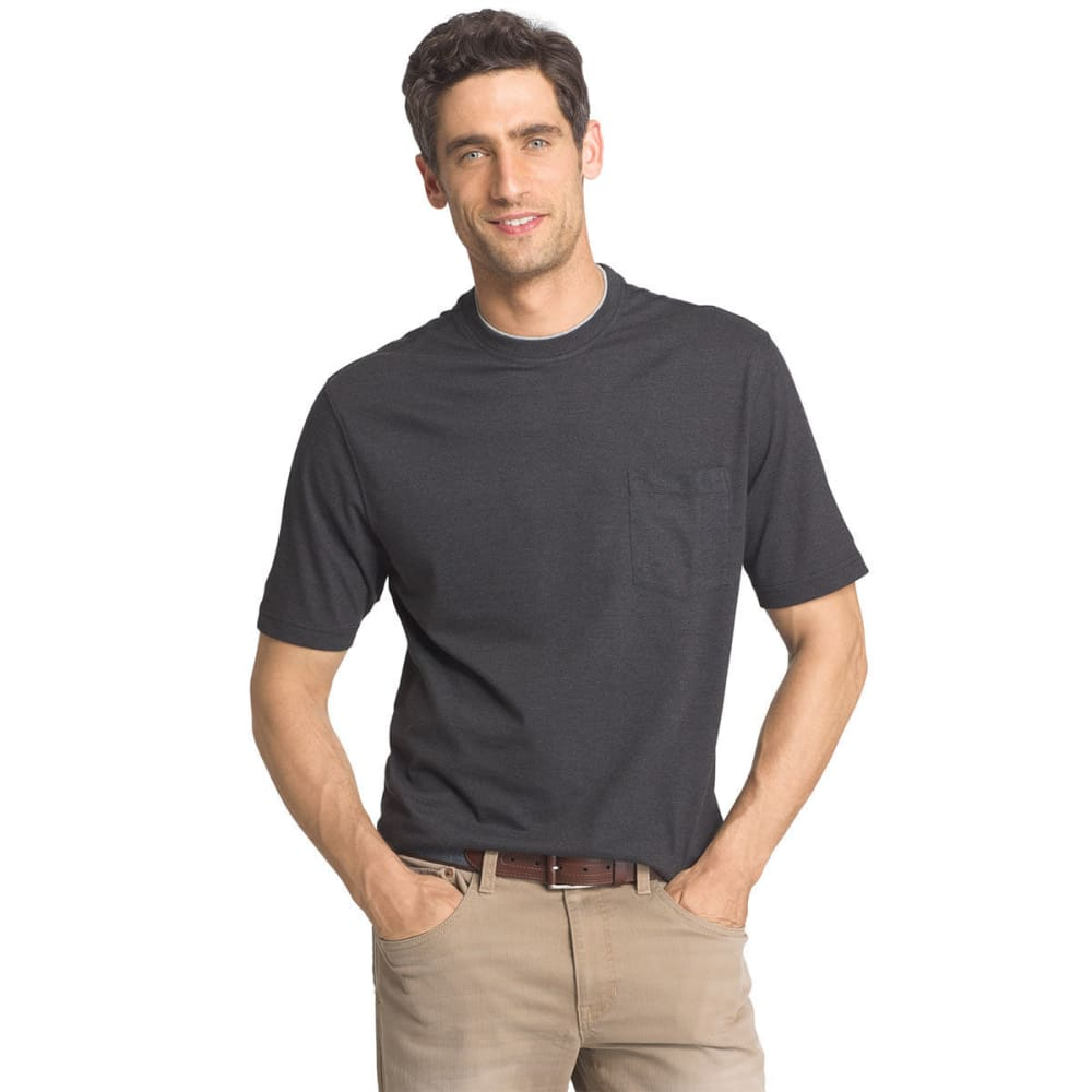 Izod Men's Short-Sleeve Basic Crew Neck Solid Tee - Black, M
