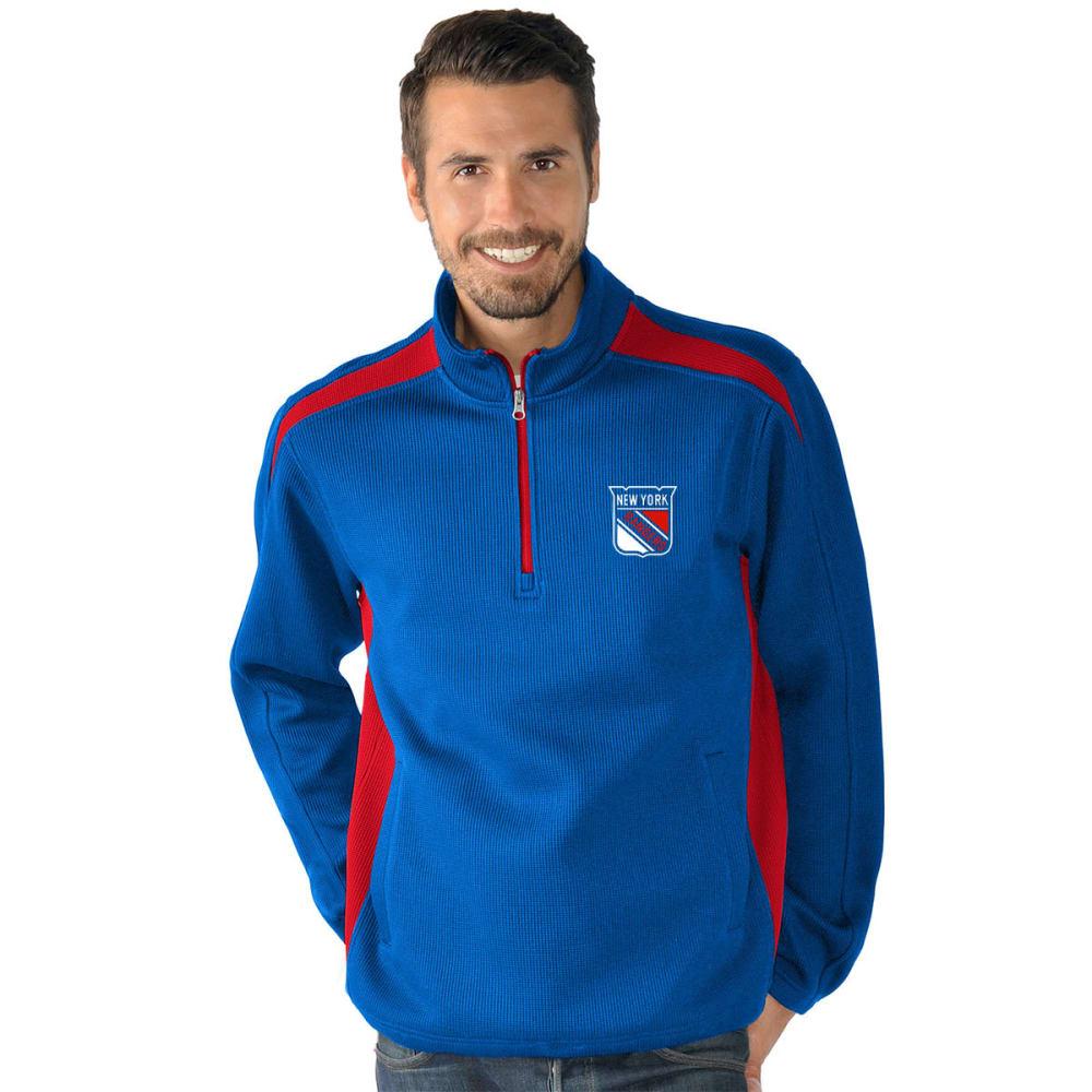NEW YORK RANGERS Men's Hail Mary Half Zip Pullover - ROYAL BLUE