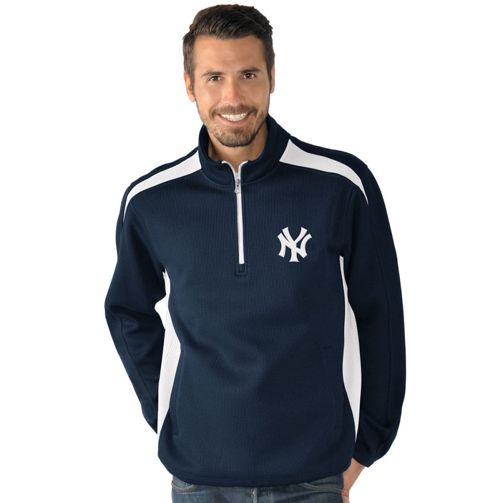 NEW YORK YANKEES Men's Hail Mary Half Zip Pullover - NAVY
