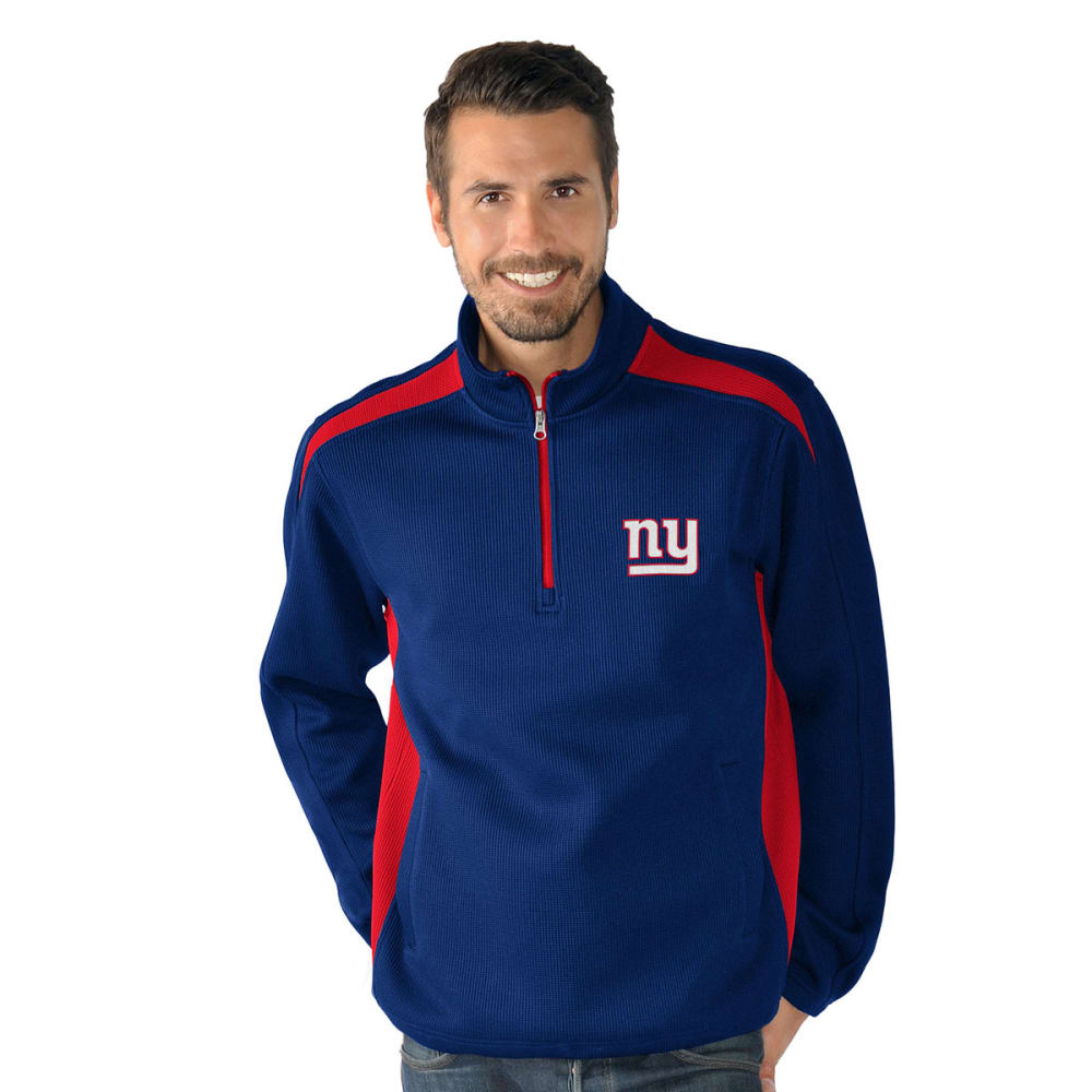 NEW YORK GIANTS Men's Hail Mary Half Zip Pullover - ROYAL BLUE