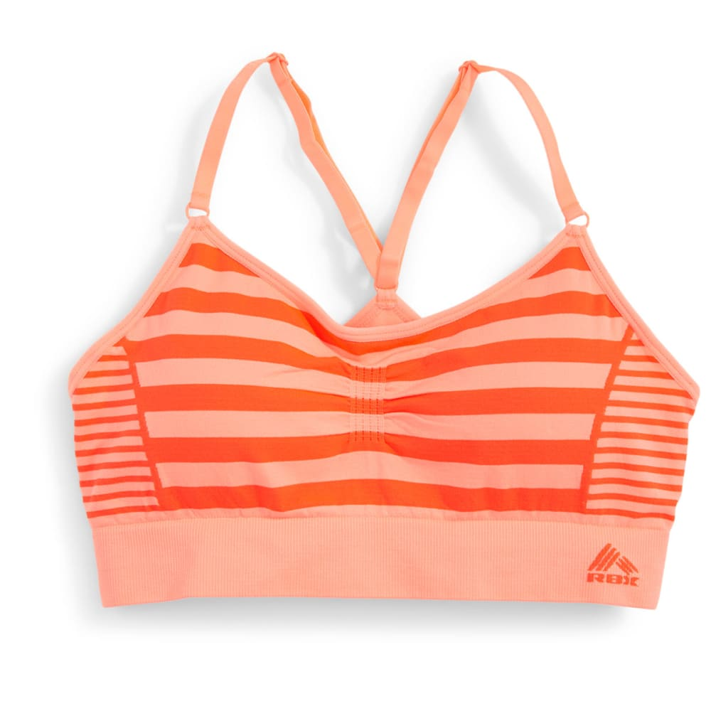 RBX Women's Seamless Striped Sports Bra - PEACH/CORAL-B
