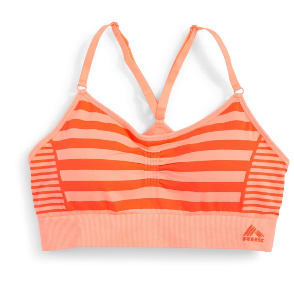 RBX Women's Seamless Striped Sports Bra - PEACH/CORAL-B