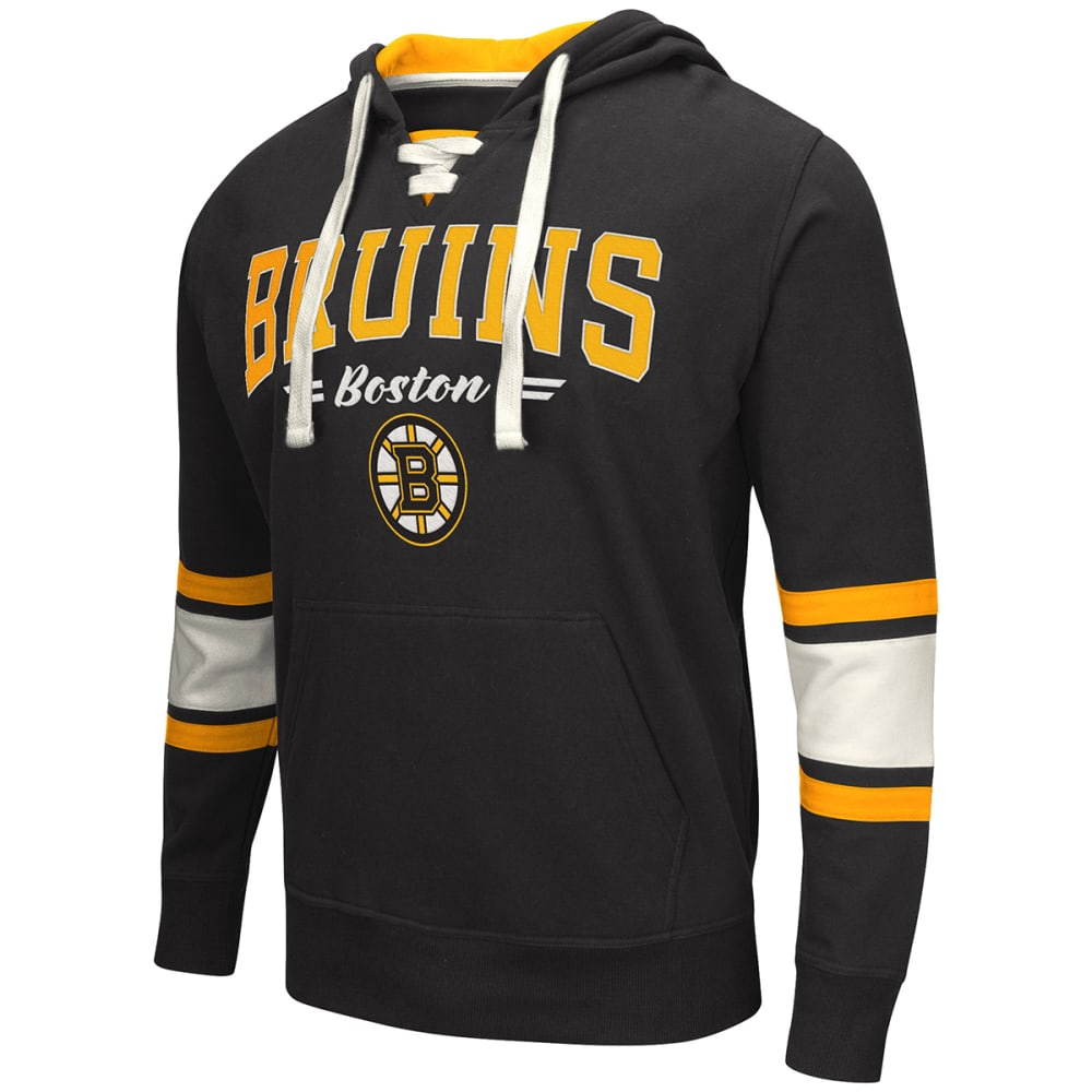 BOSTON BRUINS Men's Icing Lace-Up Pullover Hoodie - BLACK