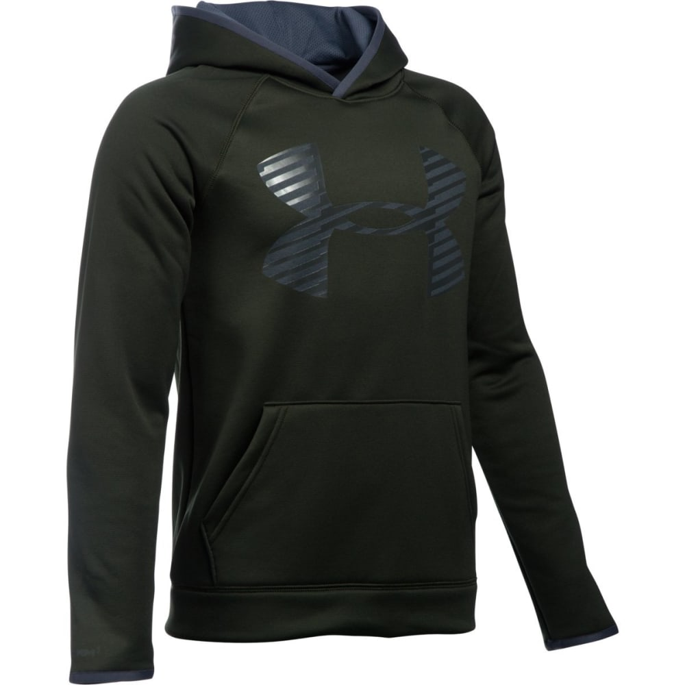 UNDER ARMOUR Boys' Storm Armour Fleece Highlight Big Logo Hoodie - ARTILLERY GRN-357
