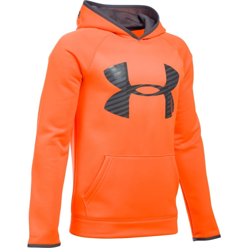 UNDER ARMOUR Boys' Storm Armour Fleece Highlight Big Logo Hoodie - BLAZE/GRAPH-825