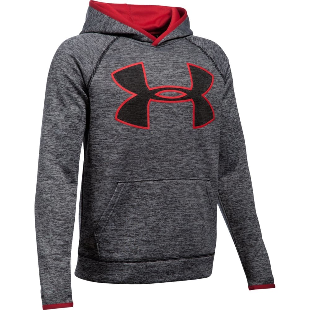 UNDER ARMOUR Boys' Storm Armour Fleece Twist Highlight Hoodie - BLACK/RED-001