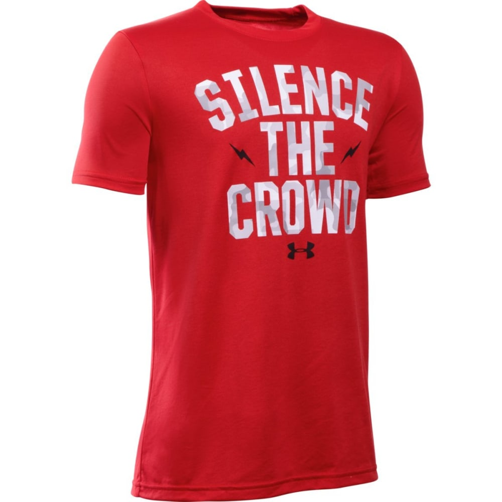UNDER ARMOUR Boys' Silence the Crowd Short-Sleeve Tee - RED/WHT/BLK-600
