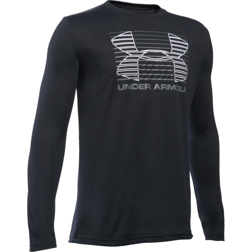 UNDER ARMOUR Boys' Breakthrough Logo Long-Sleeve Tee - BLACK/GRAPHITE 001