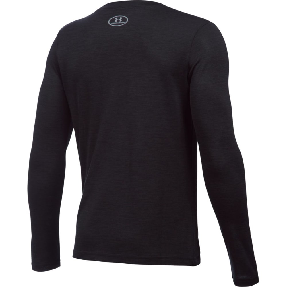 UNDER ARMOUR Boys' UA Novelty Big Logo Long-Sleeve Tee - BLACK/STEEL-001