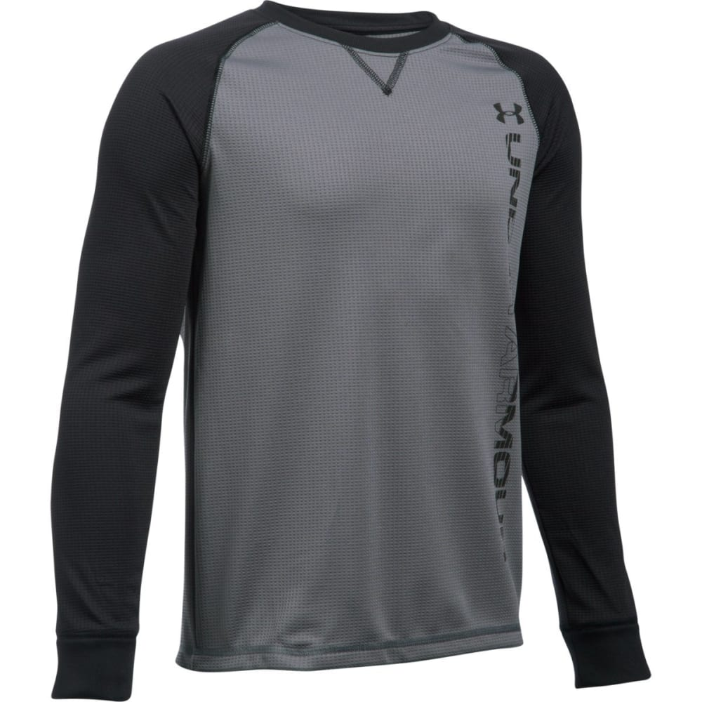 UNDER ARMOUR Boys' Waffle Crew Long-Sleeve Tee - GRAPH/BLK-040