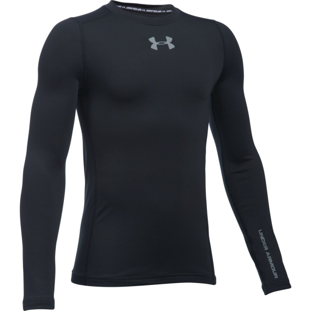 UNDER ARMOUR Boys' ColdGear Armour Crew Long-Sleeve Tee - BLACK-001