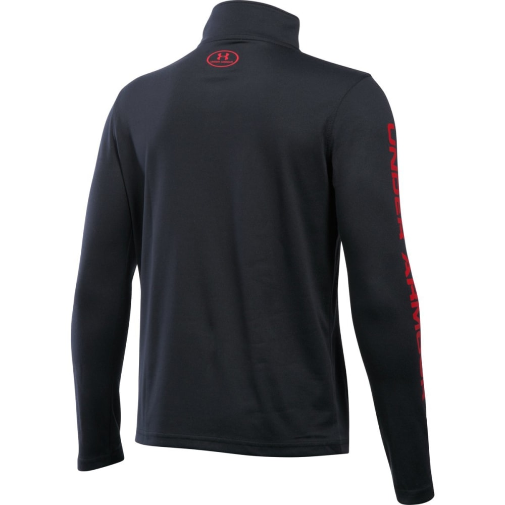 UNDER ARMOUR Boys' Tech ¼-Zip Pullover - BLACK/GRAPH/RED-002