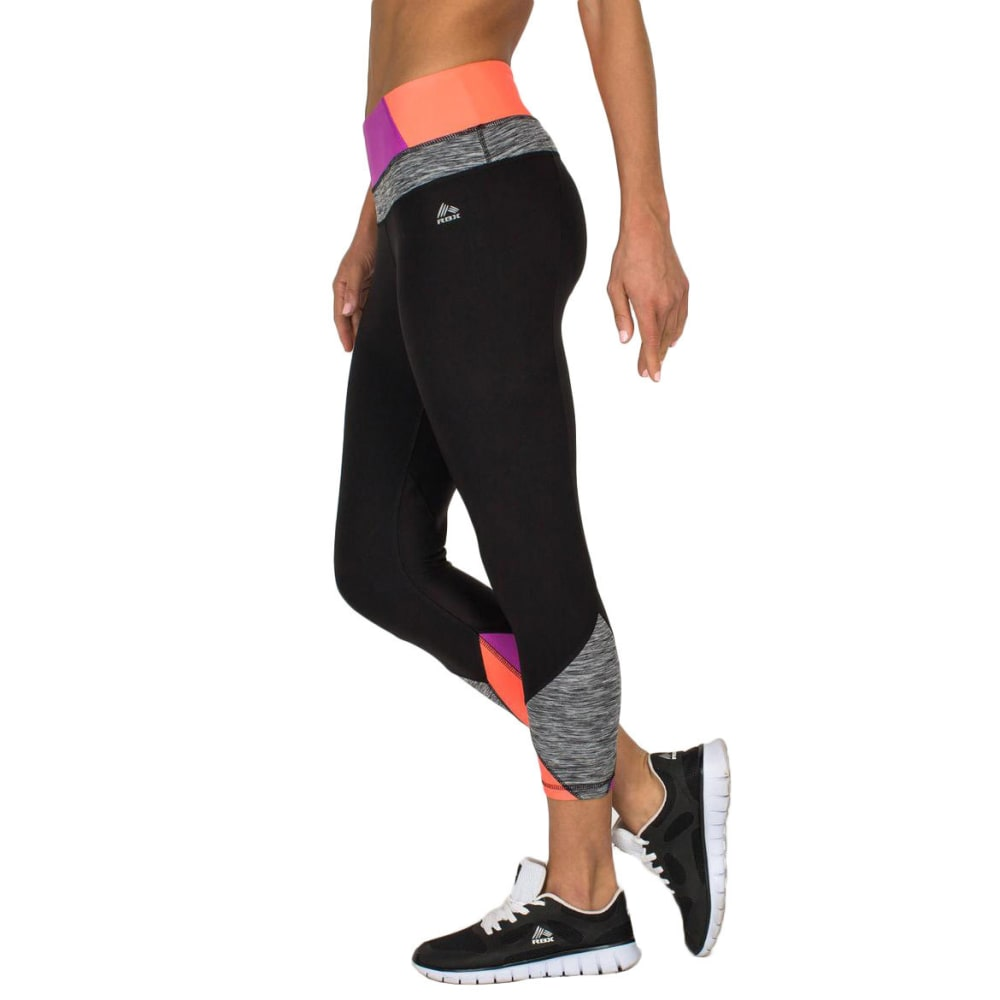 RBX Women's 21½ in. Color-Blocked Yoga Capris - BLACK/MAGENTA-A