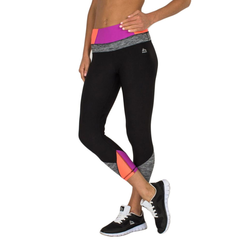 RBX Women's 21½ in. Color-Blocked Yoga Capris - BLACK/MAGENTA-A