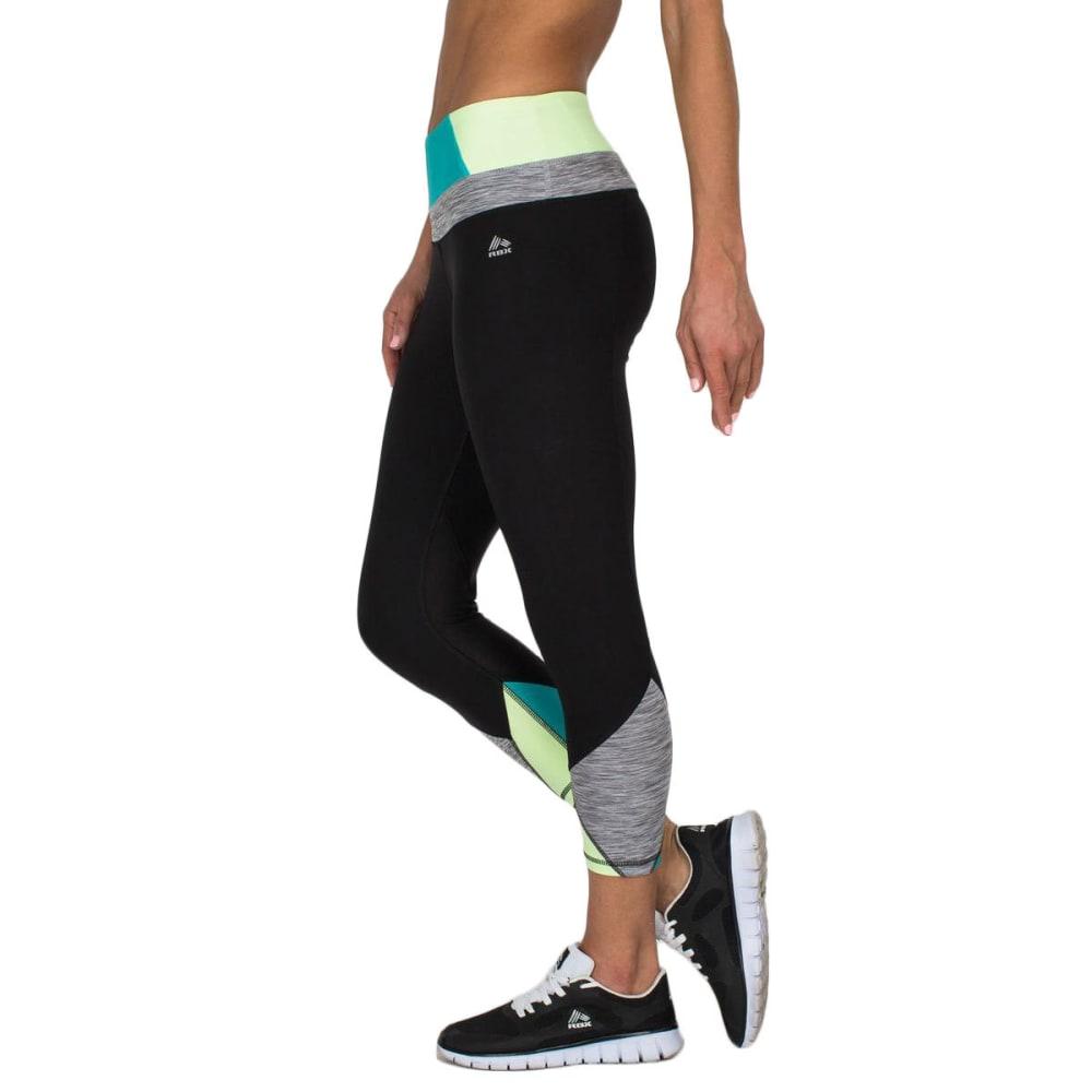 RBX Women's 21½ in. Color-Blocked Yoga Capris - BLACK/APPLETINI-B
