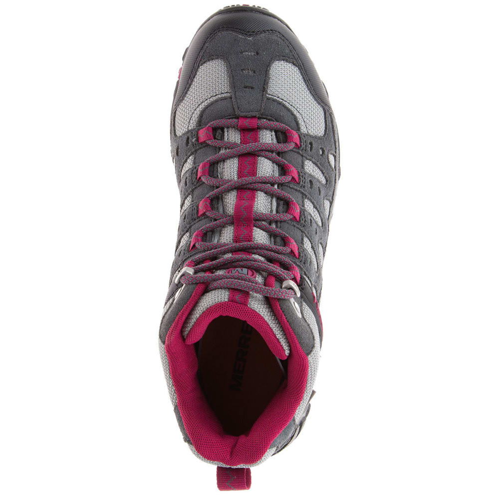 MERRELL Women's Accentor Mid WP Hiking Shoes, Castlerock/Beet Red - CASTLEROCK/BEET RED