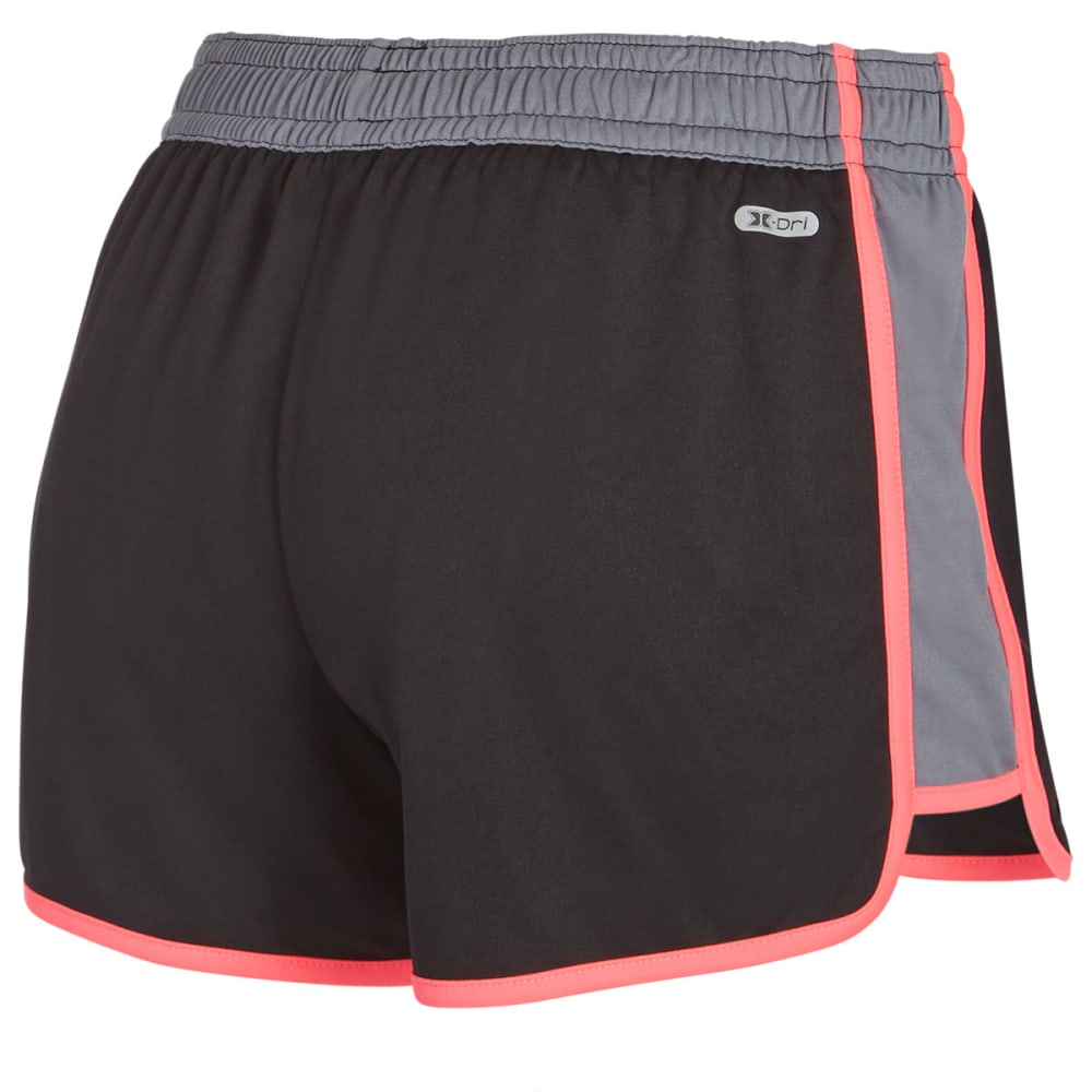 RBX Women's Running Interlock Shorts - BLACK/PLAT GREY-A