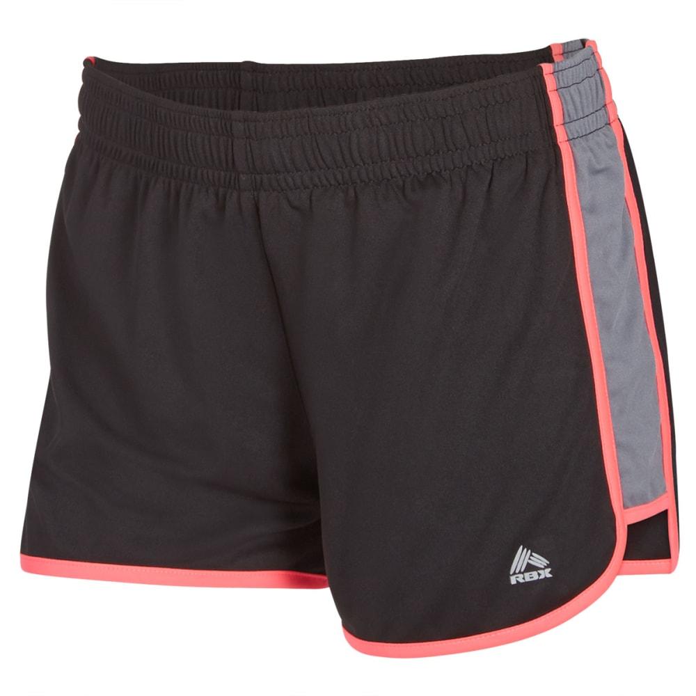 RBX Women's Running Interlock Shorts - BLACK/PLAT GREY-A