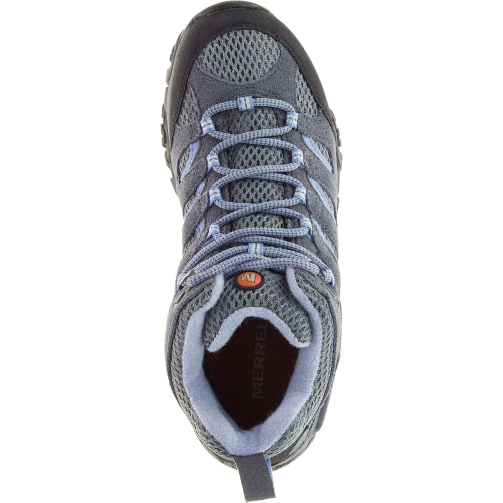 MERRELL Women's Moab Mid Waterproof Shoe, Grey/Periwinkle, Wide - GREY/PERIWINKLE