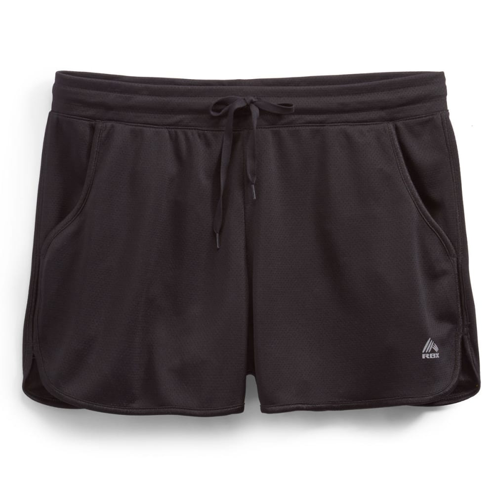 RBX Women's Mesh Running Shorts - BLACK/BLACK-A