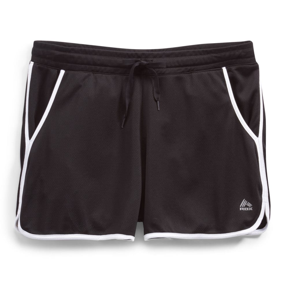 RBX Women's Mesh Running Shorts - BLACK/WHITE-B