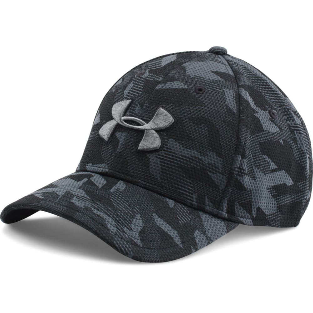 UNDER ARMOUR Men's Printed Blitzing Stretch Fit Cap - RAZOR BLK/GRAPH 002