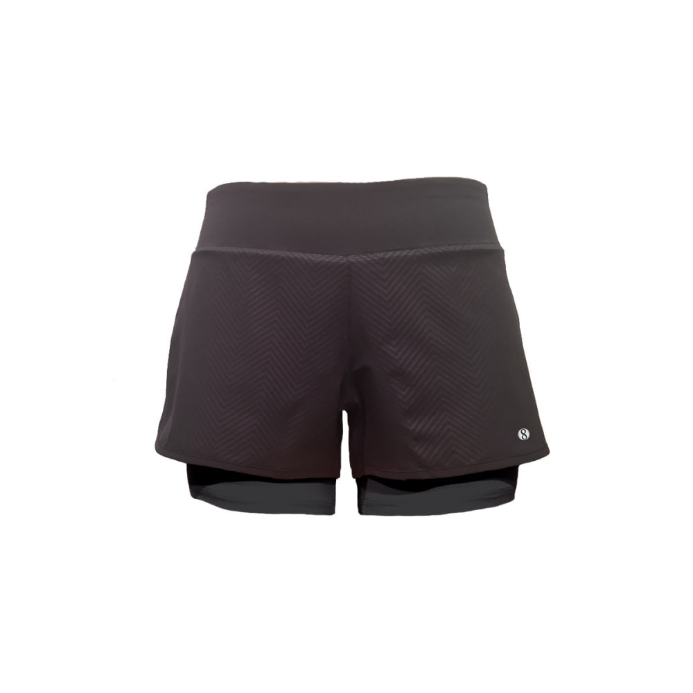 LAYER 8 Women's Embossed Woven Shorts - RICH BLACK