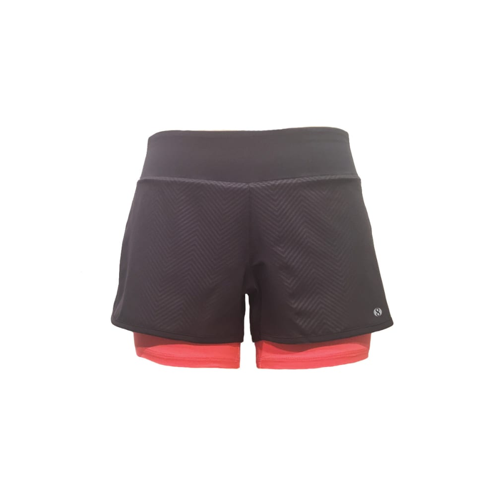 LAYER 8 Women's Embossed Woven Shorts - EBONY/CHARCOAL/CORAL
