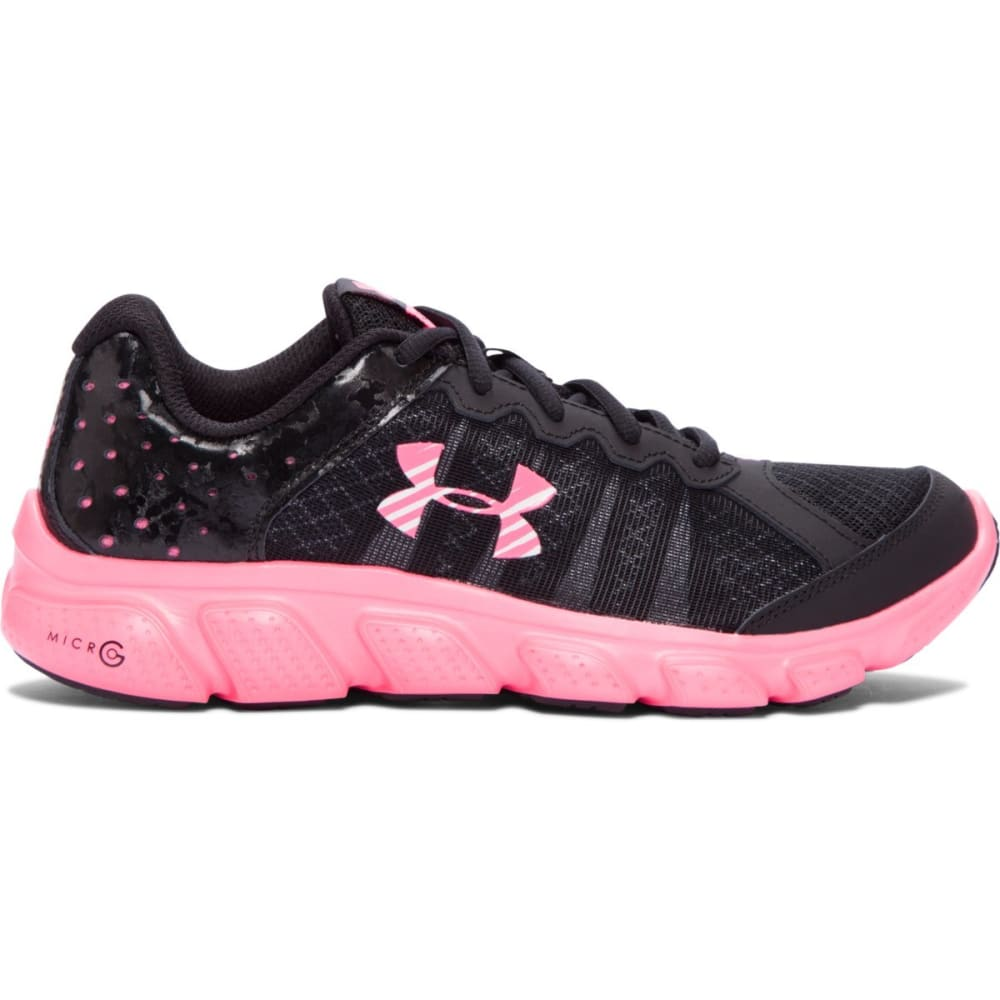 UNDER ARMOUR Girls' Grade School UA Assert 6 AC Running Shoes - BLACK/MOJO PINK