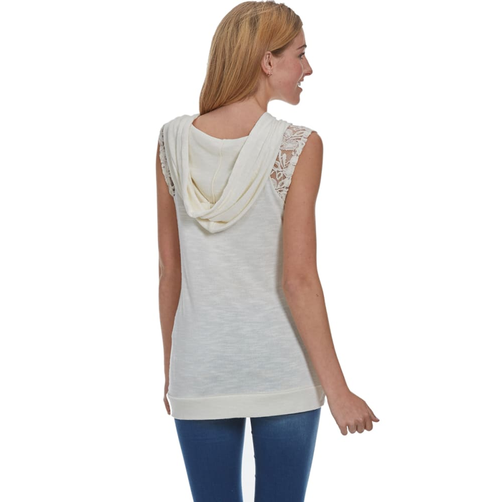 MISS CHIEVOUS Juniors' Crochet Detail Sleeveless Hoodie - IVORY-BONE