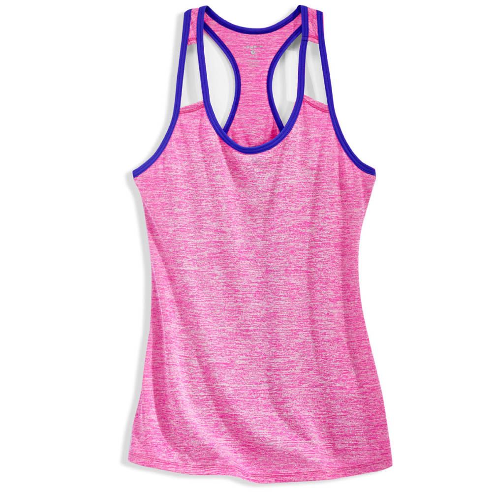 LAYER 8 Women's Fly Away Heather Cotton Tank Top - NEON FLAMINGO