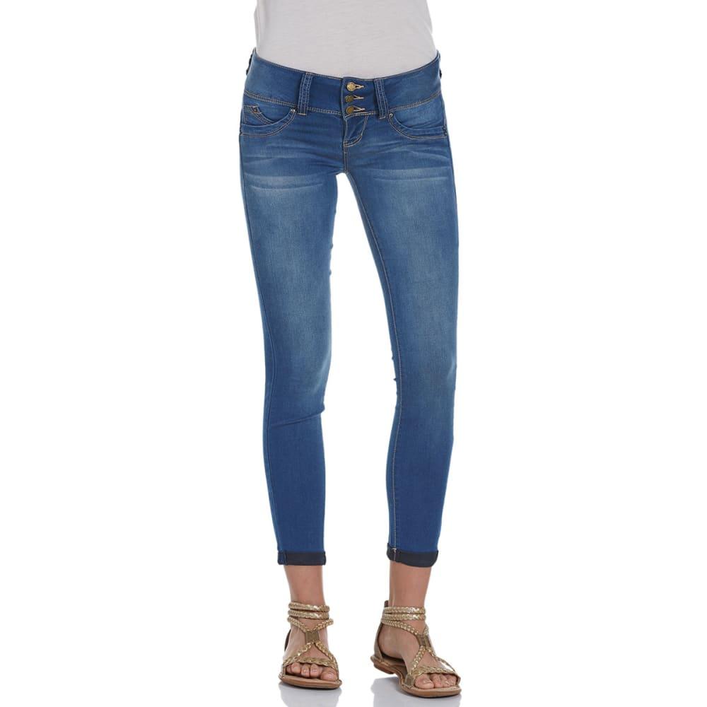 YMI Juniors' Wanna Betta Butt Cuffed Skinny Jeans - M08-MEDIUM WASH
